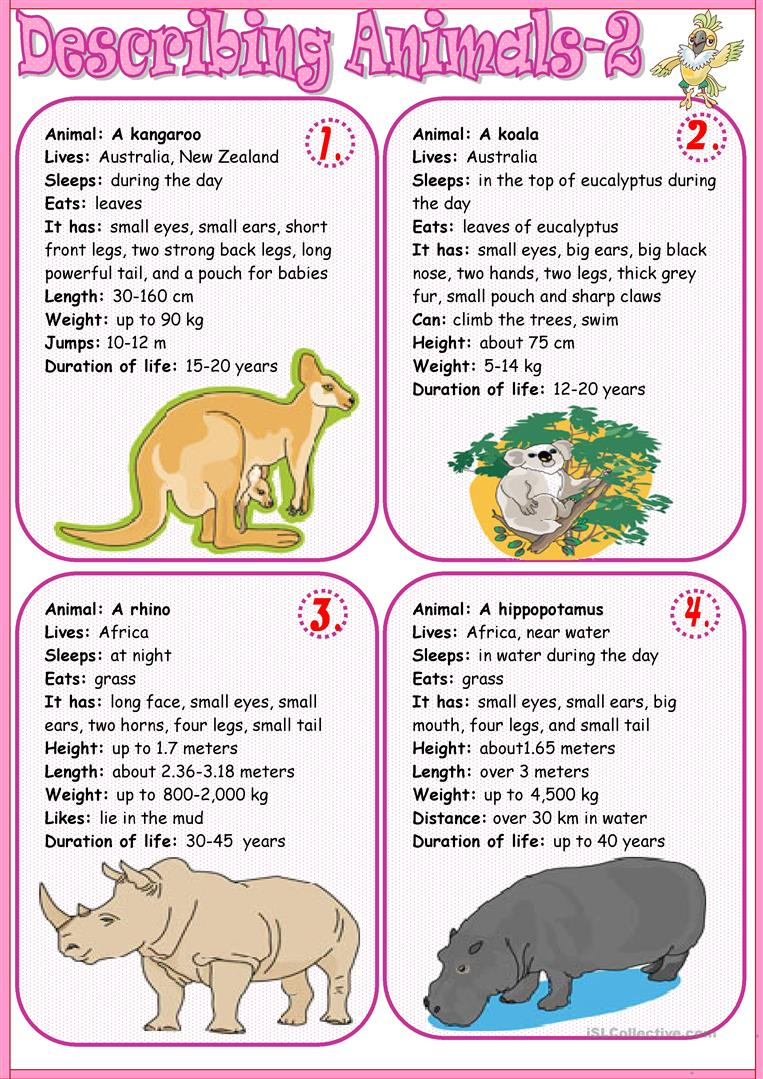 Souvent Describing animals 2 worksheet - Free ESL printable worksheets  NH97