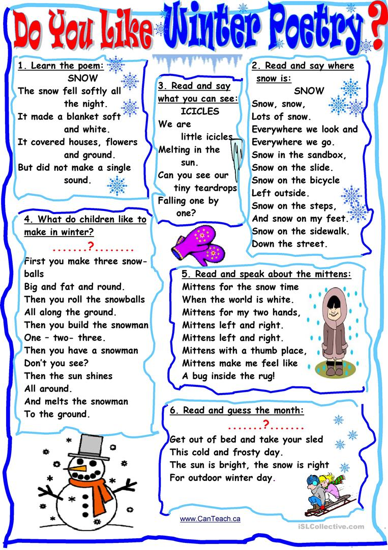 Do You Like Winter Poetry English Esl Worksheets