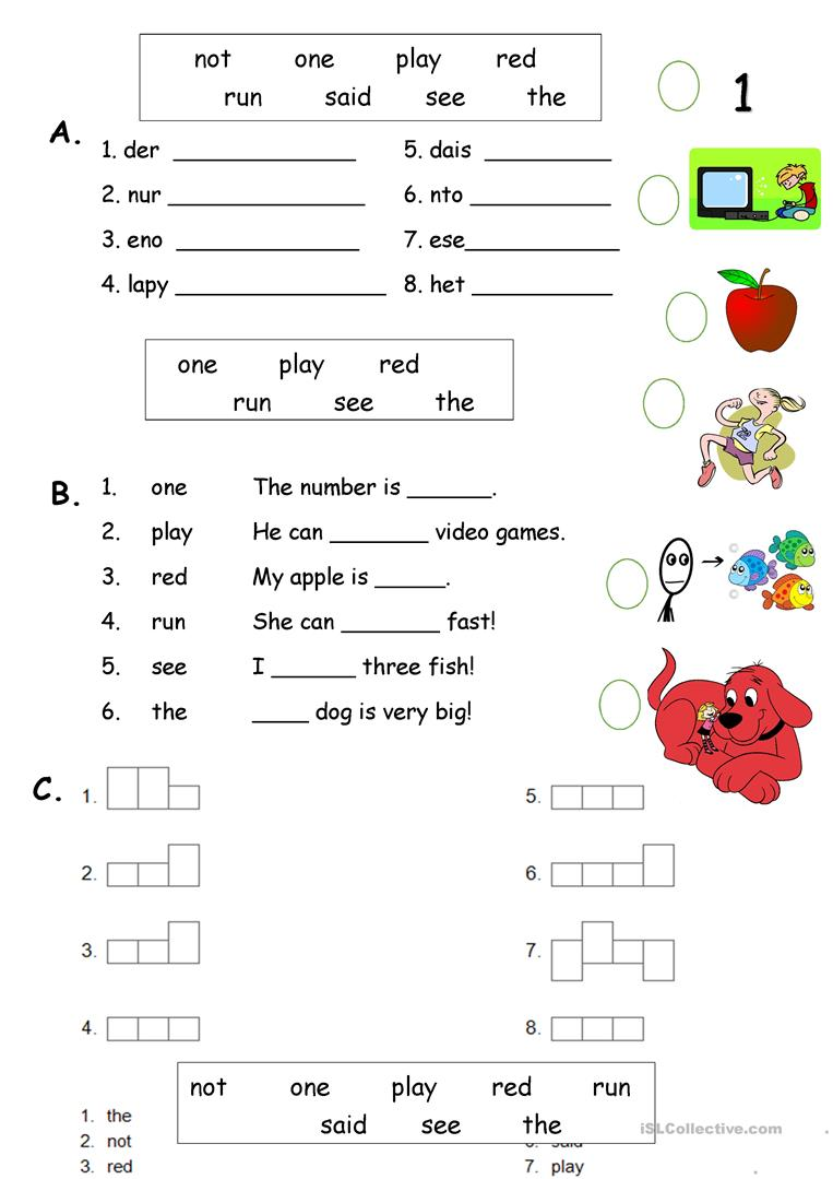 dolch sight words pdf pre primer