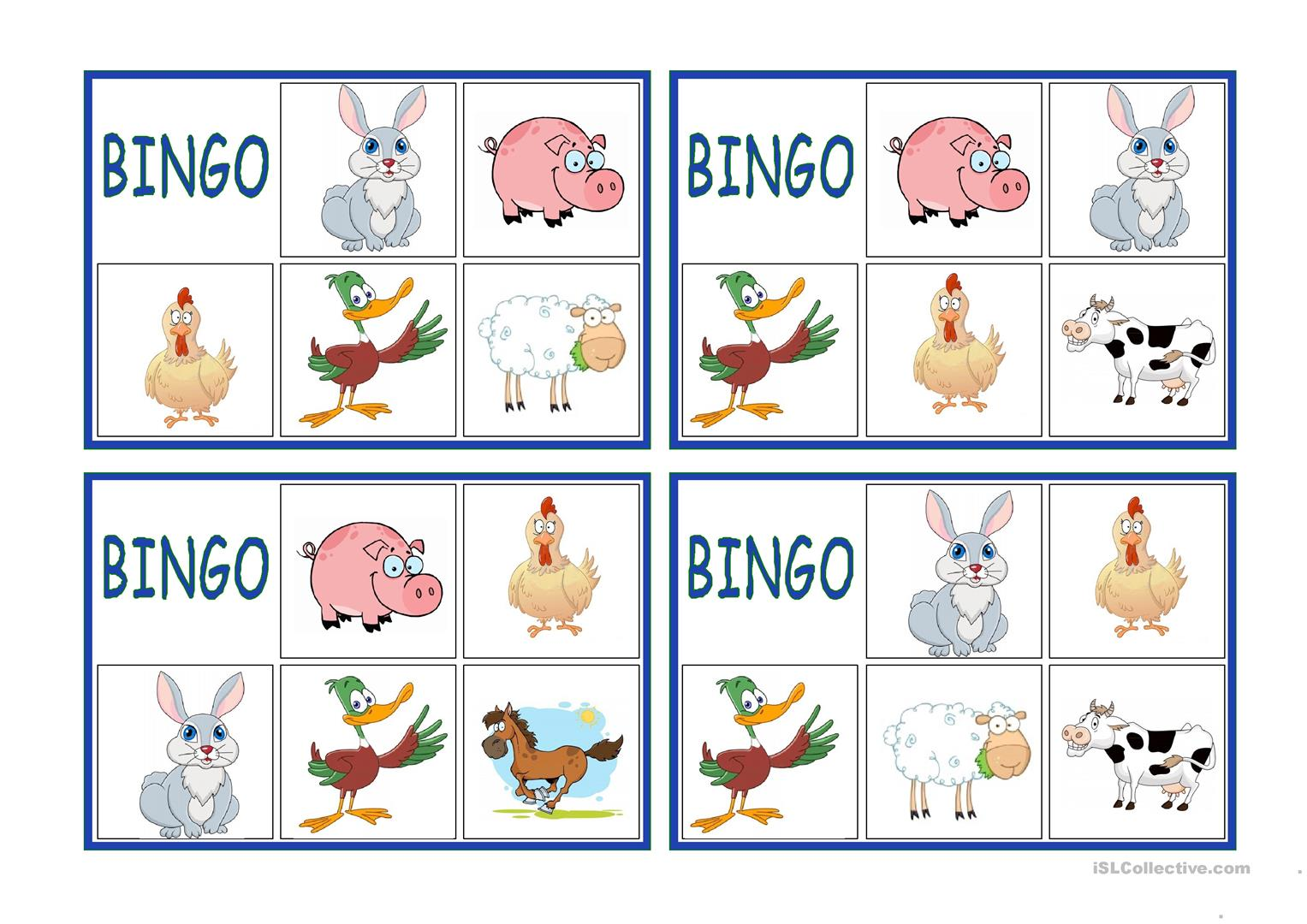 Farm Animals Bingo English Esl Worksheets For Distance Learning And Physical Classrooms