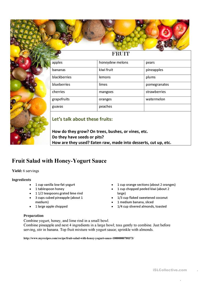 6 free esl fruit salad worksheets fruit vocabulary fruit salad recipe forumfinder Images
