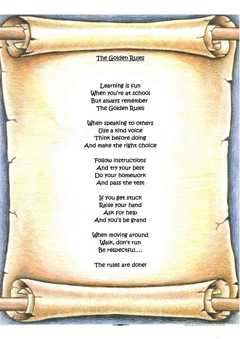 picture about Golden Rule Printable referred to as Golden Tips - English ESL Worksheets