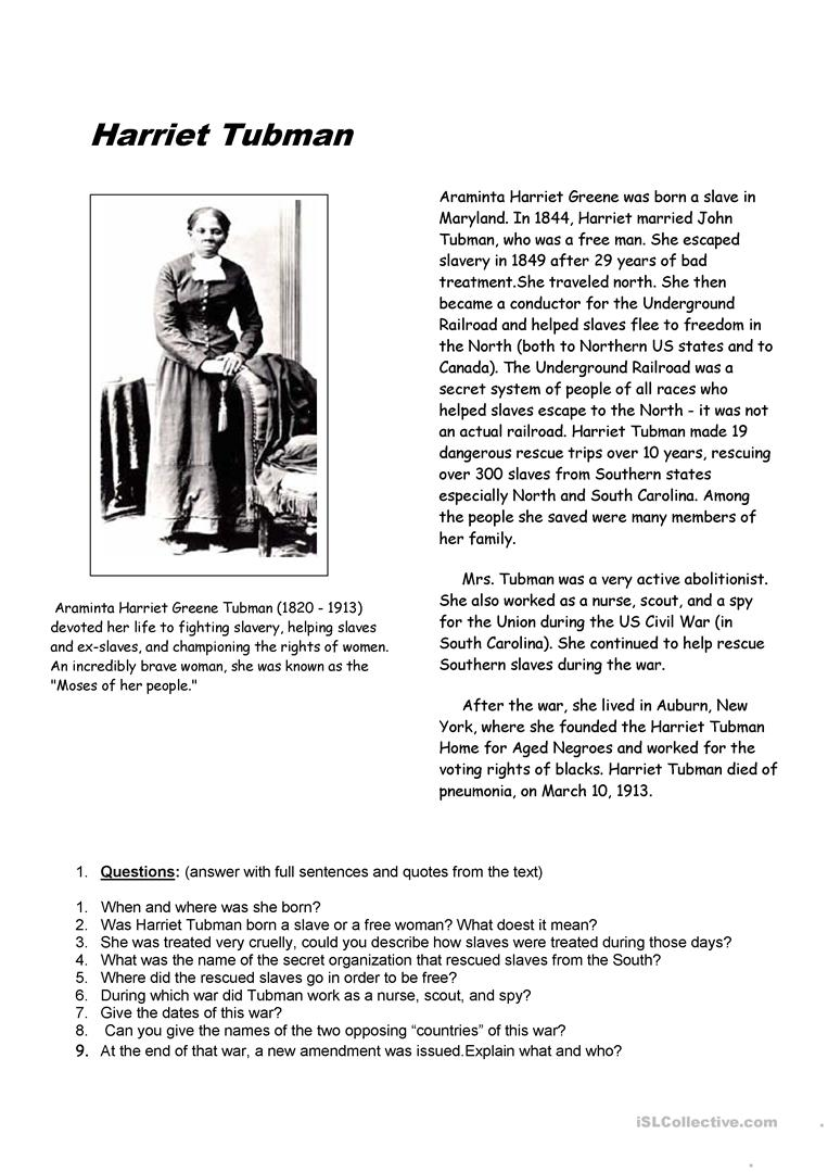 Clever image for harriet tubman printable worksheets