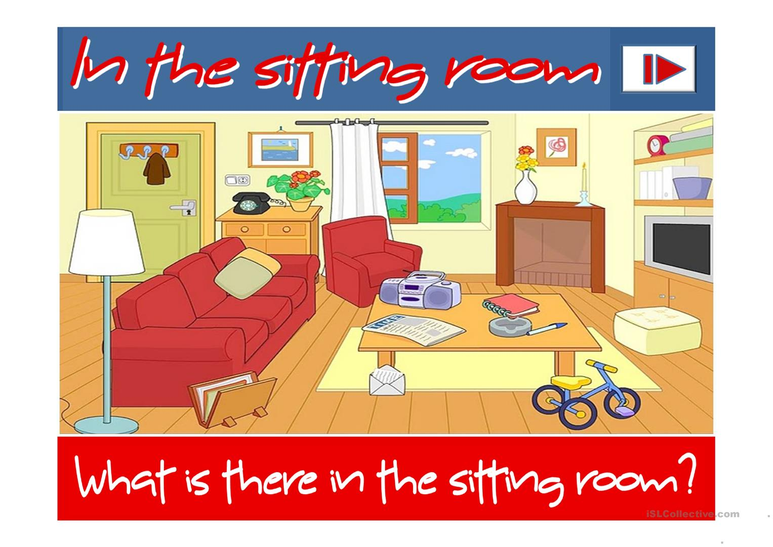 in the sitting room there is there are worksheet free esl