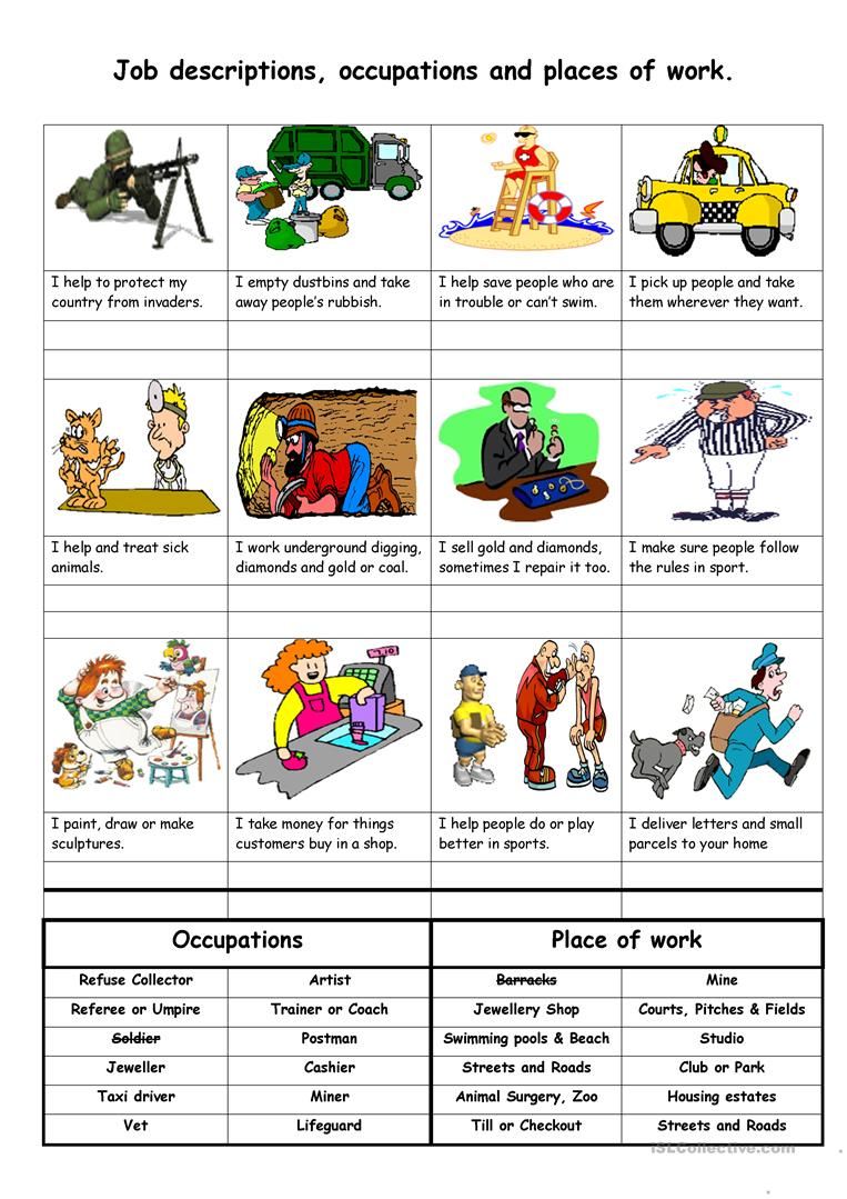 10 FREE ESL job descriptions worksheets – Job Worksheets