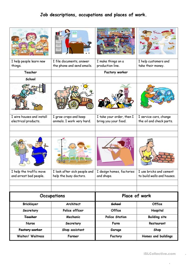 Job descriptions, occupations and places of work - English ...