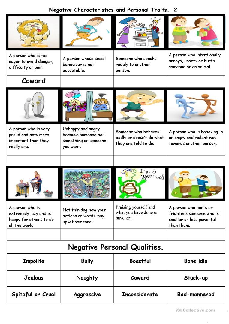 Negative Characteristics and Personal Traits  2 worksheet - Free ESL