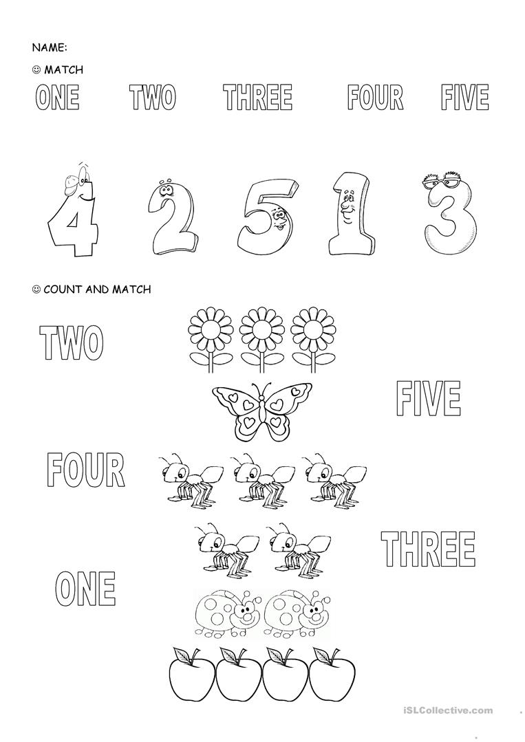 Numbers 1 5 English Esl Worksheets For Distance Learning And Physical Classrooms - View Printable Number 5 Worksheets For Kindergarten PNG