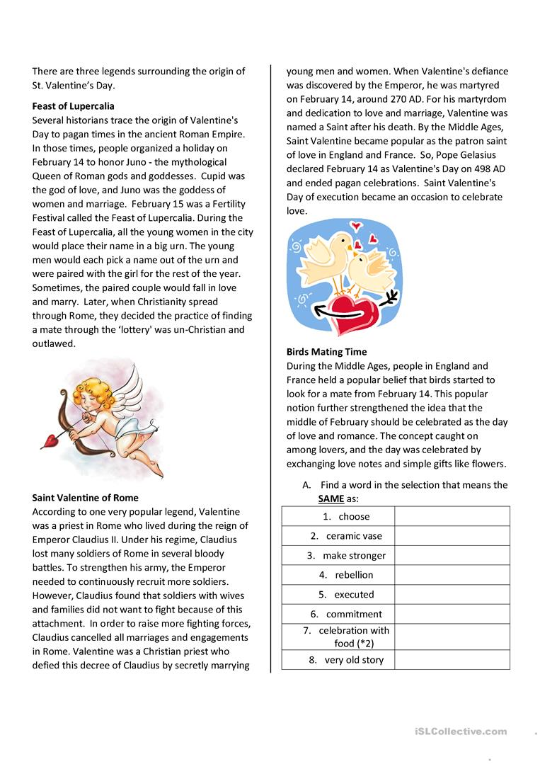 - St. Valentine's Day Reading Comprehension - English ESL Worksheets