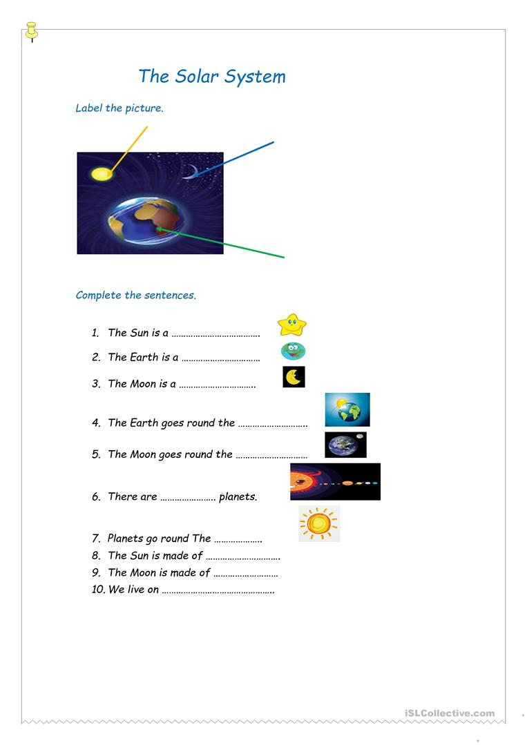 The Sun The Earth And The Moon Worksheet Free Esl