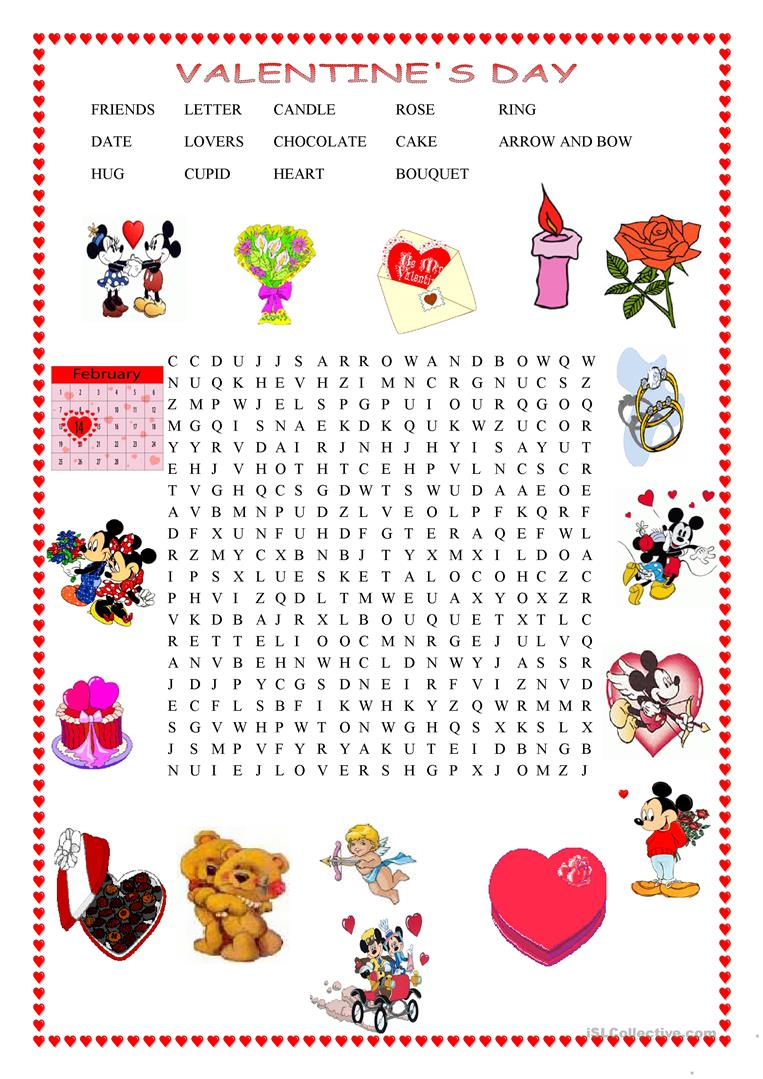 picture relating to Valentine's Day Word Search Printable called Valentines working day wordsearch - English ESL Worksheets