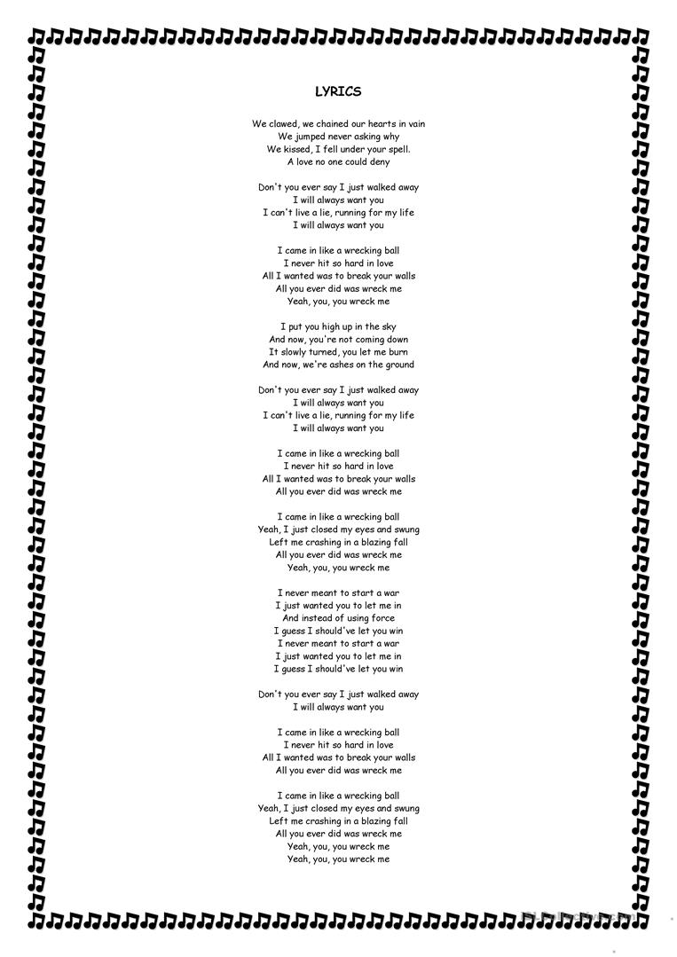Wrecking ball - Miley Cyrus lyrics worksheet - Free ESL ...