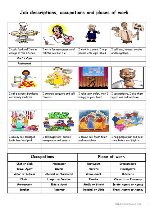 Job Descriptions Occupations And Places Of Work Worksheet  Free