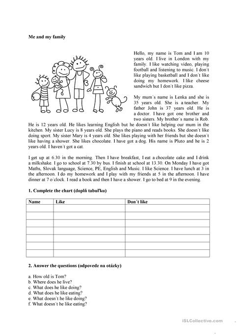 Me and my family worksheet - Free ESL printable worksheets made by ...
