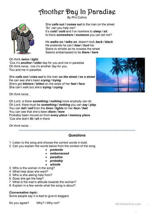 Song Another Day In Paradise Worksheet Free Esl Printable