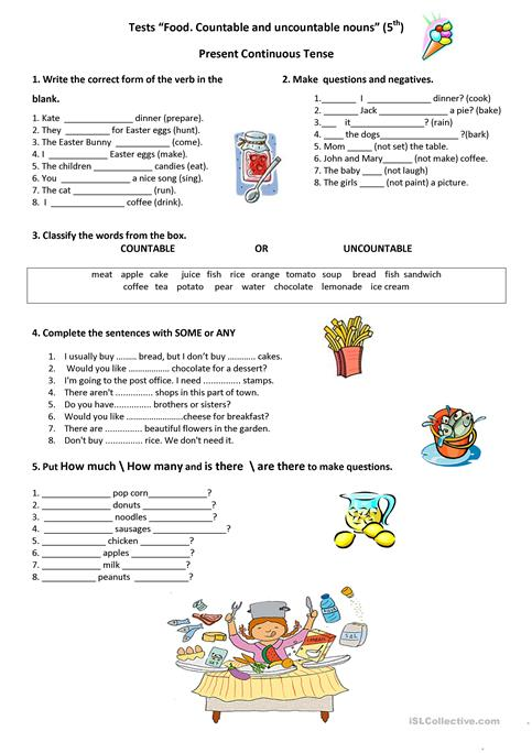 Test Food. Countable and uncountable nouns. worksheet - Free ESL ...