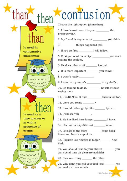 Than/then Confusion worksheet - Free ESL printable worksheets made ...