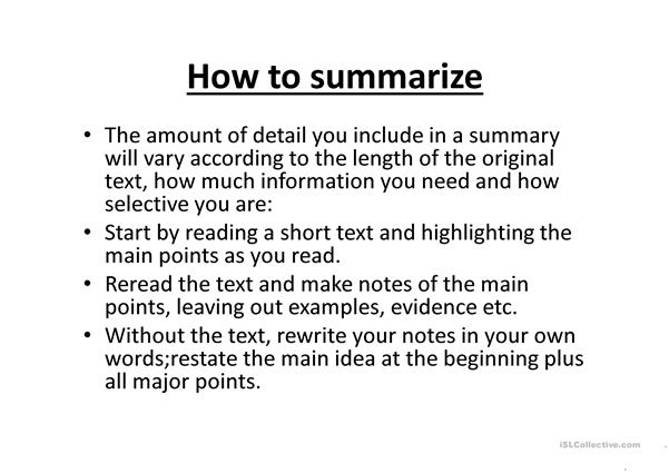 Academic Writing. Paraphrasing and summarizing