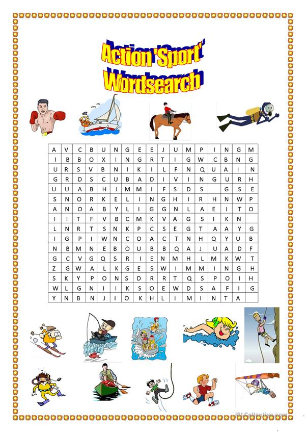 action 'sport' wordsearch