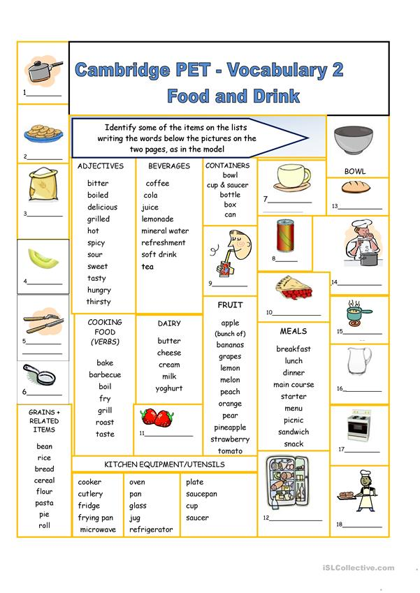 Cambridge PET Vocabulary 2 - Food and Drink