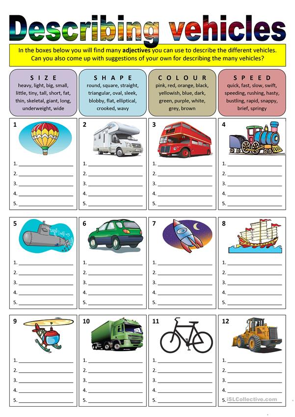 Describing vehicles (adjectives)