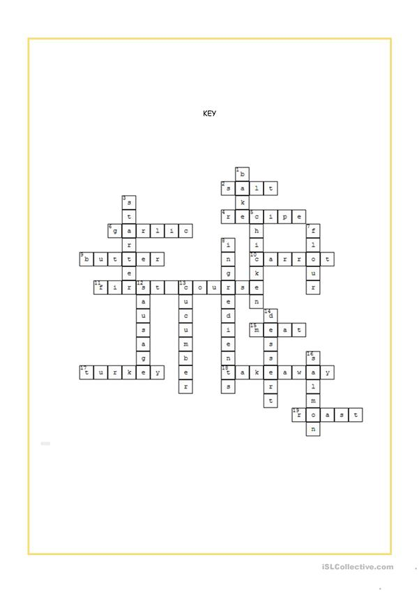 Food and Drink Crossword