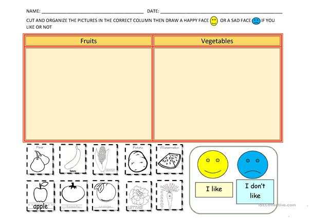 Fruits and vegetables - likes and dislikes 2