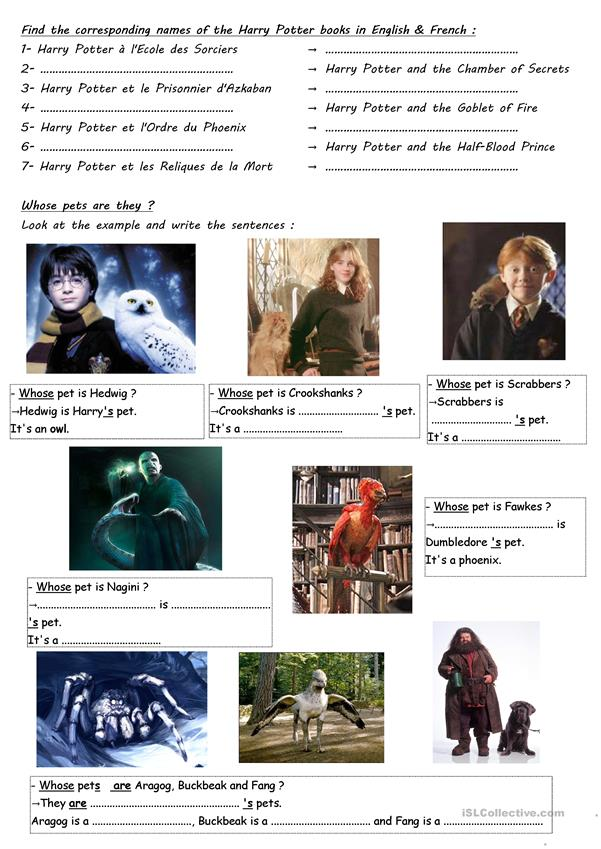 Harry Potter project - whose + titles (WS 4)
