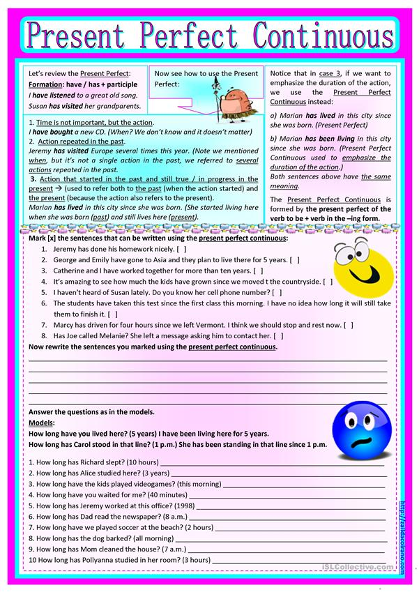 Present Perfect Continuous [with review on Present Perfect] *editable