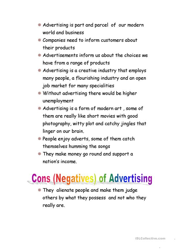 PROS AND CONS OF ADVERTISEMENTS