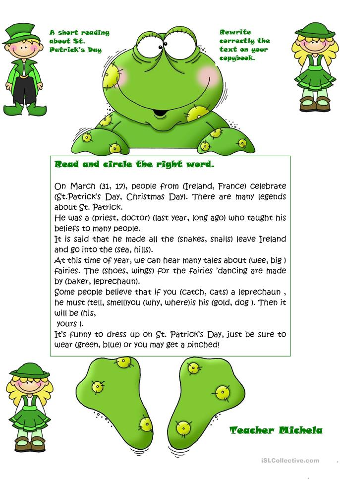 A short reading about St. Patrick's Day - ESL worksheets