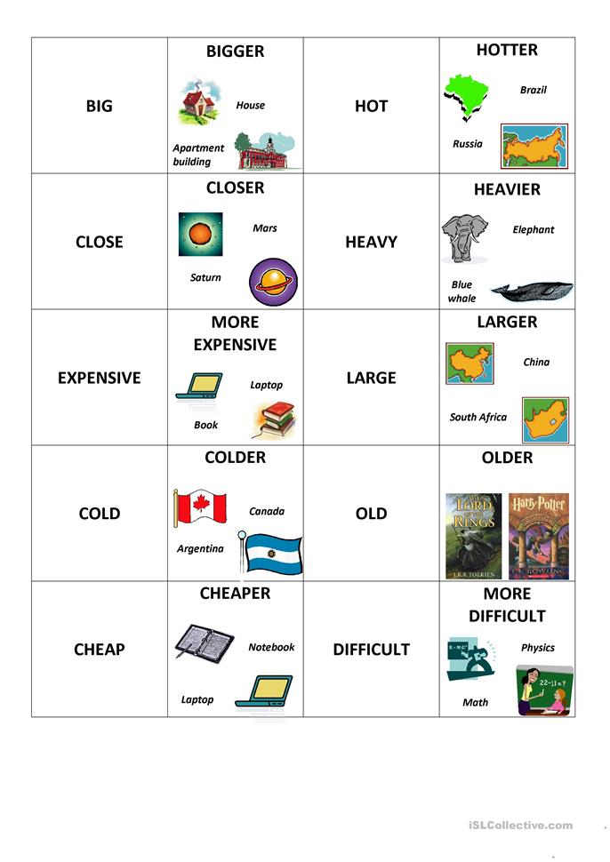 Concentration Game: Comparatives worksheet - Free ESL ...