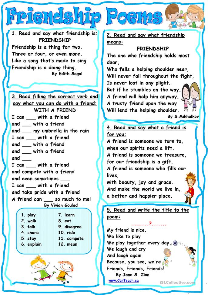 Friendship Poems Worksheet Free Esl Printable Worksheets