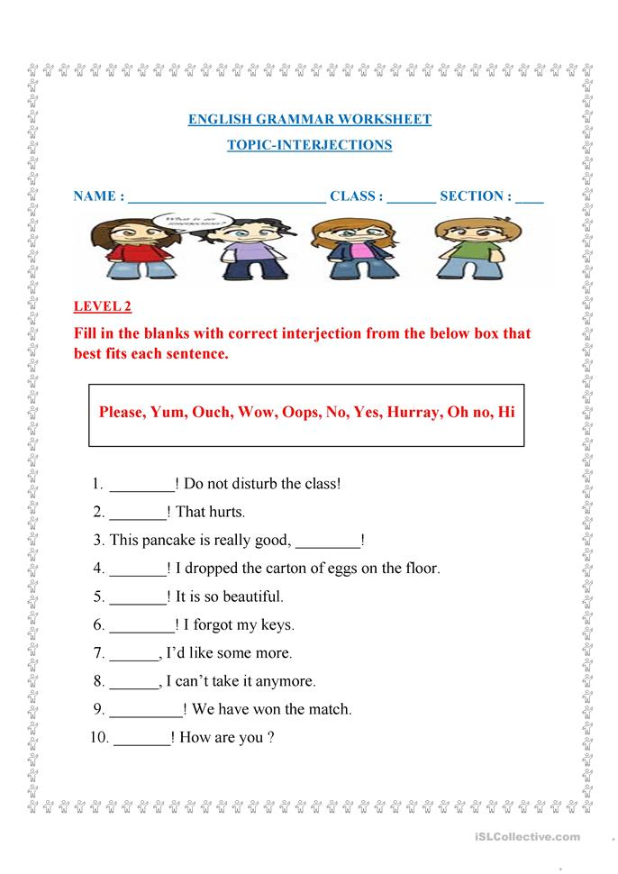 ... Interjection Worksheets also 5th Grade Interjection Worksheets. on