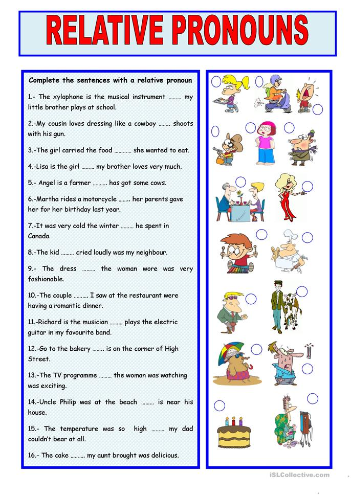Relative clauses exercise for grade 6