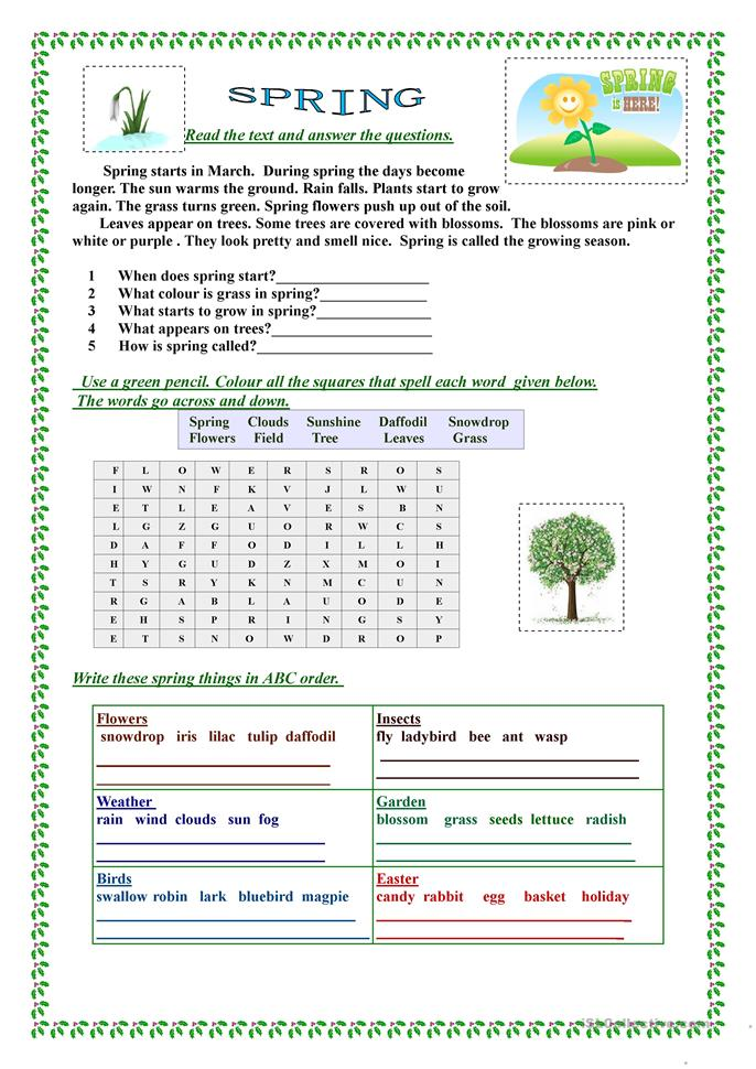 Spring English Worksheets : Spring worksheet free esl printable worksheets made by