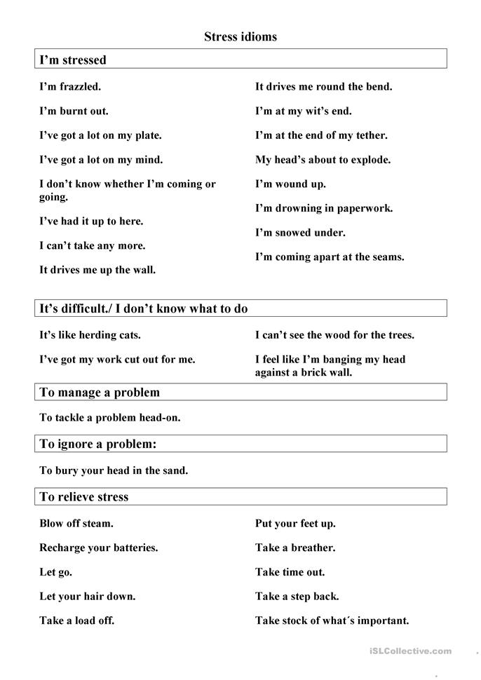 Worksheets Stress Management Worksheets stress management idioms worksheet free esl printable worksheets made by teachers