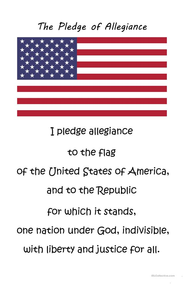 the pledge of allegiance worksheet free esl printable worksheets made by teachers. Black Bedroom Furniture Sets. Home Design Ideas