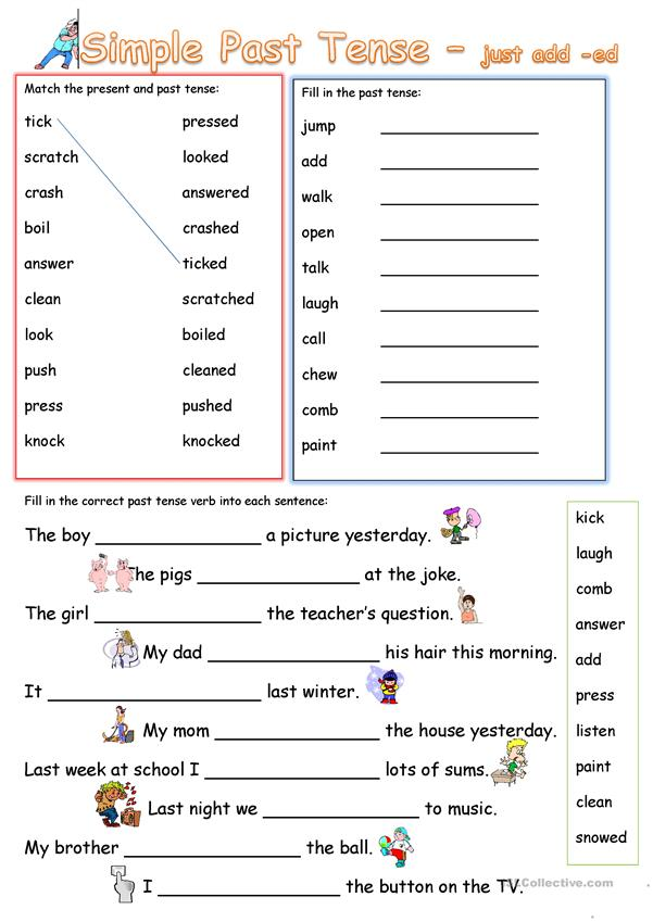 Simple Past Tense Add 'ed' - English ESL Worksheets For Distance Learning  And Physical Classrooms