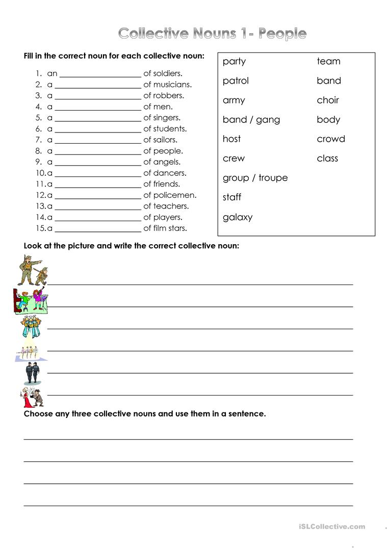 - Collective Nouns - People - English ESL Worksheets For Distance