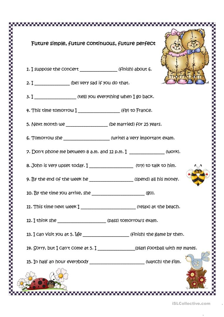 worksheet Simple Future Tense Worksheets Pdf future simple continuous and perfect worksheet free full screen