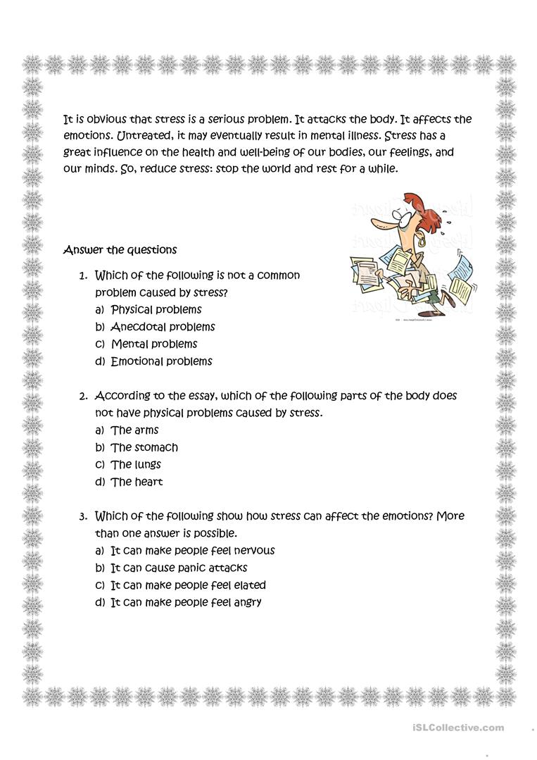 The Effects of Stress worksheet - Free ESL printable worksheets made