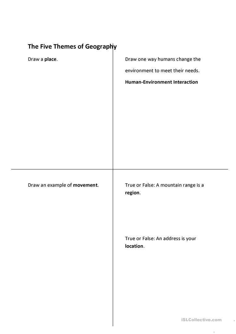 Worksheets Five Themes Of Geography Worksheet the five themes of geography worksheet free esl printable full screen