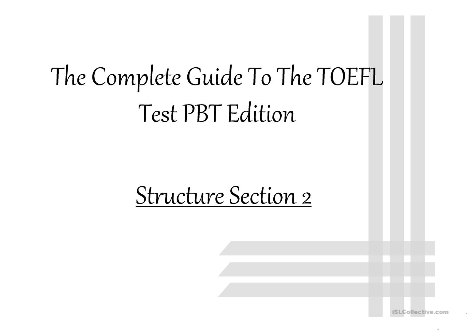 photo relating to Toefl Exercises Printable known as TOEFL PBT - Fitness 18 - English ESL Powerpoints