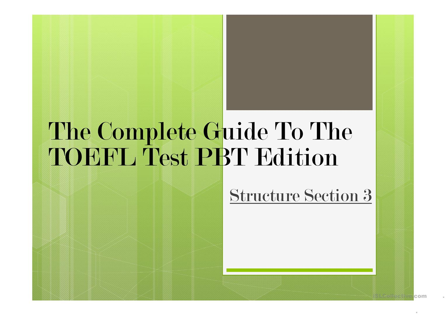 picture relating to Toefl Exercises Printable referred to as TOEFL PBT - Physical fitness 19 - English ESL Powerpoints