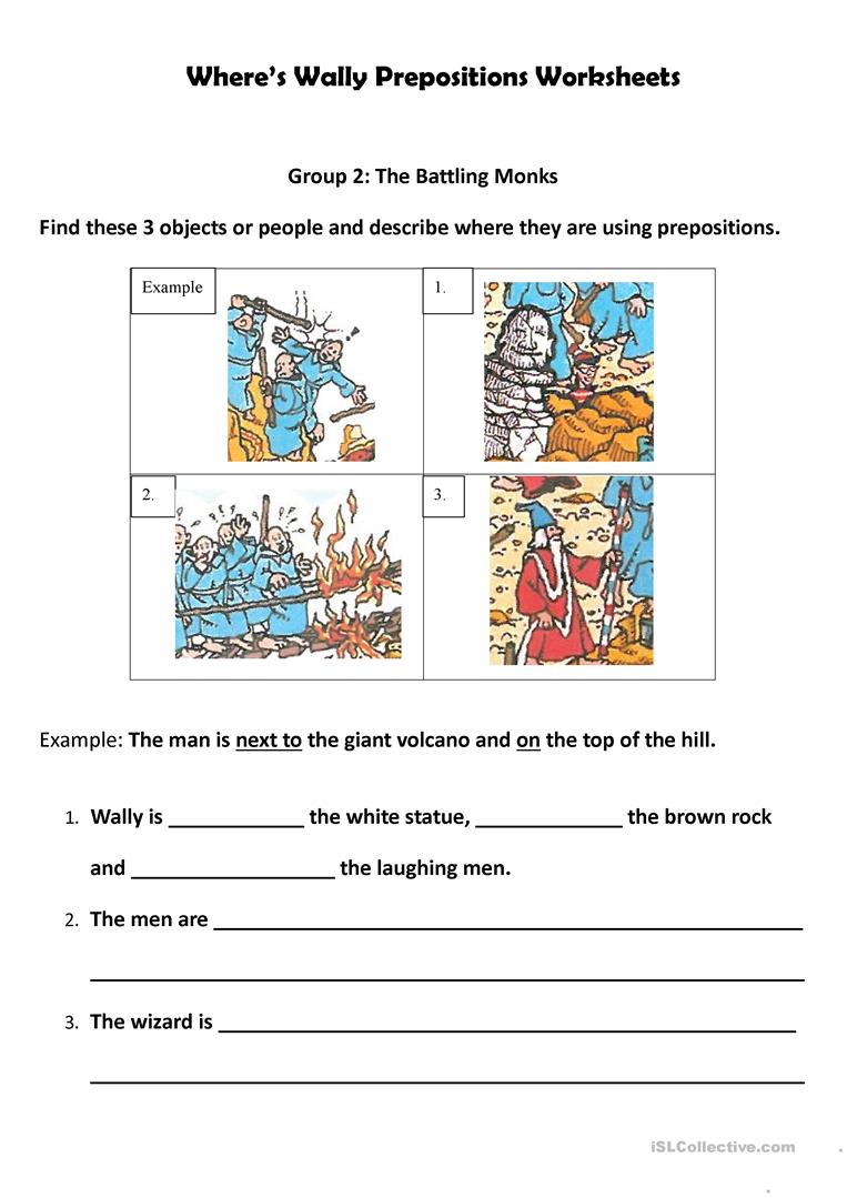 Worksheets Preposition Worksheets wheres wally preposition worksheets worksheet free esl full screen