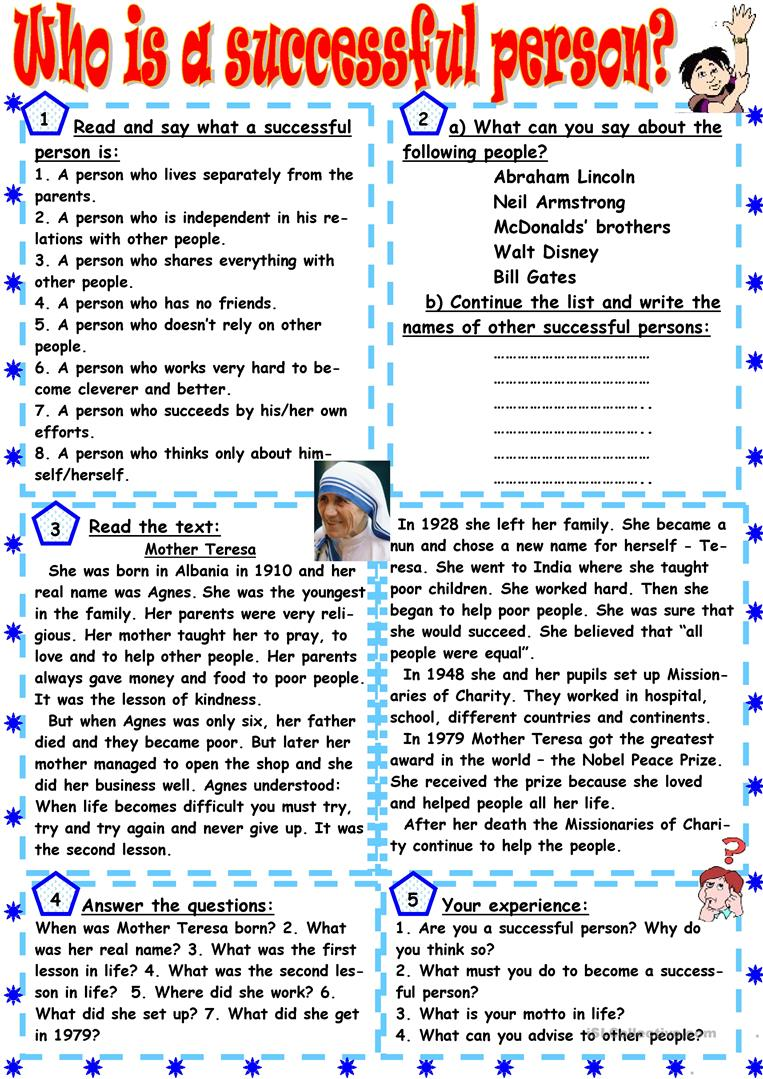 Who is a successful person? worksheet - Free ESL printable