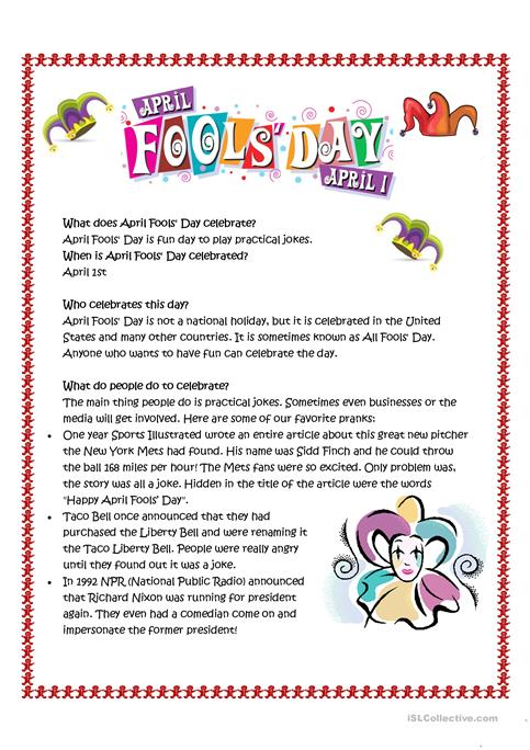 April Fool Day Activities for Kids - Enchanted Learning Software