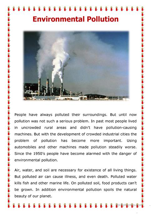Reading Comprehension Worksheet About Pollution Livinghealthybulletin