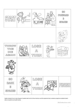 free esl community helpers worksheets occupations and public places ladder